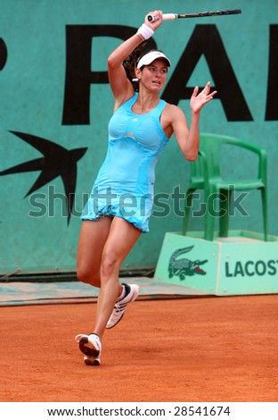 PARIS - MAY 21: German professional tennis player JULIA GOERGES during her match at French Open, Roland Garros on May 21, 2008 in Paris, France.