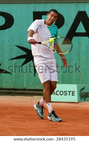 PARIS - MAY 20: Israel's professional tennis player Harel Levy during the match at French Open, Roland Garros, May 20, 2008 in Paris, France.