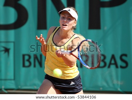 PARIS - MAY 20: Ksenia PERVAK of Russia plays the 2nd round qualification match at French Open, Roland Garros on May 20, 2010 in Paris, France.