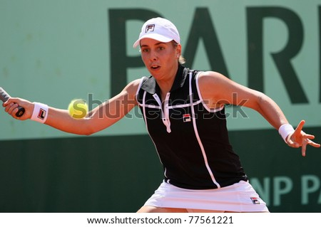 PARIS - MAY 19: Marina Erakovic of New Zealand plays the 2nd round qualification match at French Open, Roland Garros on May 19, 2011 in Paris, France.