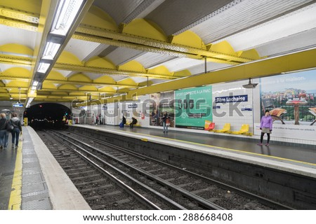 PARIS - MAY 3: Paris Metro station on May 03, 2015 in Paris, France. Paris Metro is the 2nd largest underground system worldwide.
