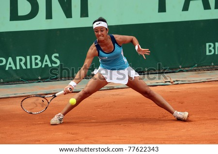 PARIS - MAY 20: Silvia Soler-Espinosa of Spain plays the 3rd round qualification match at French Open, Roland Garros on May 20, 2011 in Paris, France.