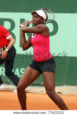 PARIS - MAY 20: Sloane Stephens of USA plays the 3rd round qualification match at French Open, Roland Garros on May 20, 2011 in Paris, France.
