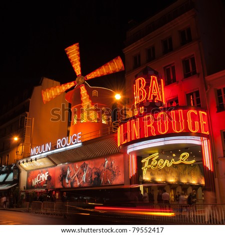 PARIS MAY 28 The Moulin Rouge at night on May 28 2011 in Paris France Moulin Rouge is a famous cabaret built in 1889 located in the Paris red-light district of Pigalle.