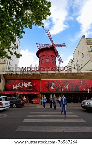 PARIS - MAY 2: The Moulin Rouge on May 02, 2011 in Paris, France. Moulin Rouge is a famous cabaret built in 1889, located in the Paris red-light district of Pigalle