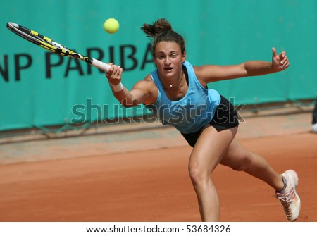 PARIS - MAY 21: Vesna MANASIEVA of Russia plays 3rd round qualification match at French Open, Roland Garros on May 21, 2010 in Paris, France.