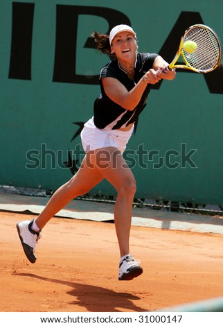 PARIS - MAY 20: YAROSLAVA SHVEDOVA of Kazakhstan in action at French Open, Roland Garros on May 20, 2009 in Paris, France.