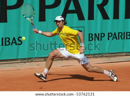 PARIS - MAY 21: Yuri SCHUKIN of Kazakhstan in action at French Open, Roland Garros qualification 3rd round match on May 21, 2010 in Paris, France.