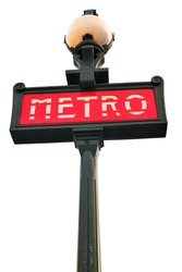 Paris metro sign  isolated over white background
