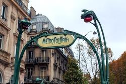 Paris Metro subway. Art Nouveau