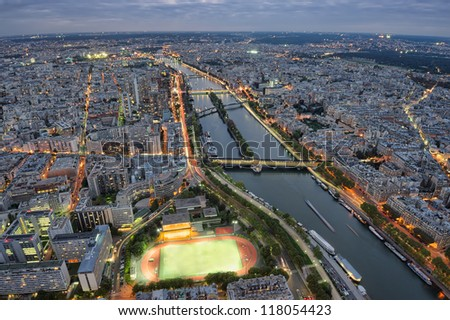 Paris night scene city of lights, view from Eiffel Tower, France