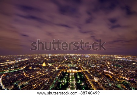 Paris night scene view from Eiffel Tower, France
