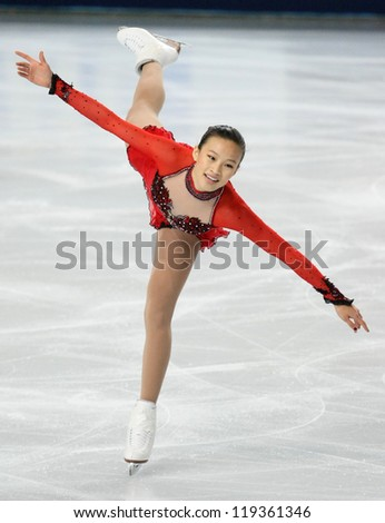 PARIS - NOVEMBER 17: Christina GAO of USA performs during the ladies free skating event at ISU Grand Prix Eric Bompard Trophy on November 17, 2012 at Palais-Omnisports de Bercy, Paris, France.