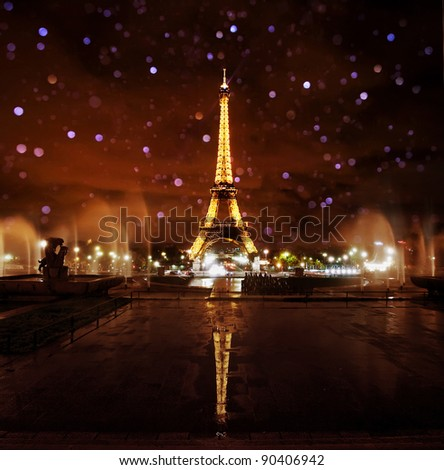 PARIS - NOVEMBER 12: Eiffel Tower at night with blurred water drops on November 12, 2010 in Paris, France. The Eiffel tower is the most visited monument of France with over 6 million visitors a year.