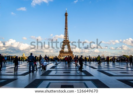 PARIS NOVEMBER 15 Eiffel tower from Trocadero on November 15 2012 in Paris The tallest structure in Paris and the most-visited paid monument in the world 320 meters tall built in 1889