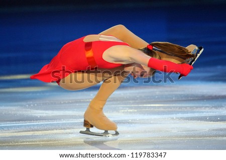 PARIS - NOVEMBER 18: Julia LIPNITSKAIA of Russia performs at the ISU Grand Prix Eric Bompard Trophy Gala event on November 18, 2012 at Palais-Omnisports de Bercy, Paris, France.