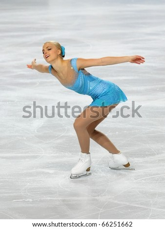 PARIS - NOVEMBER 26: Kiira KORPI of Finland performs at ladies short skating event of the ISU Grand Prix Eric Bompard Trophy, November 26, 2010 at Palais-Omnisports de Bercy, Paris, France.