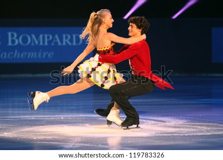 PARIS - NOVEMBER 18: Piper GILLES / Paul POIRIER of Canada perform at the ISU Grand Prix Eric Bompard Trophy Gala on November 18, 2012 at Palais-Omnisports de Bercy, Paris, France.
