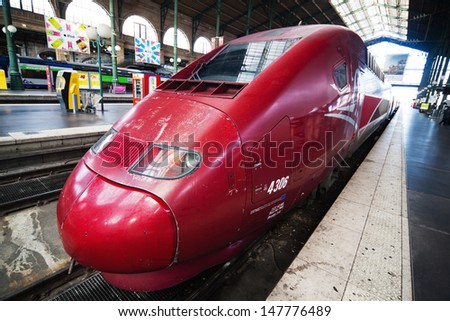 PARIS - NOVEMBER 20: the famous Thalys train at the station Gare du Nord on November 20, 2012 in Paris. The Thalys is a European high-speed train with a speed up to 300 km/h.