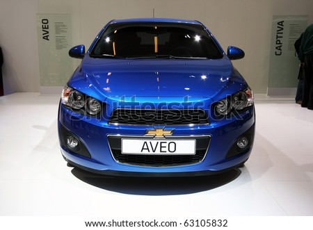 PARIS - OCTOBER 14: Chevrolet Aveo is displayed during the Paris Motor Show 2010 at Porte de Versailles, on October 14, 2010 in Paris, France