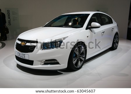 PARIS - OCTOBER 14: Chevrolet Cruze is displayed during the Paris Motor Show 2010 at Porte de Versailles, on October 14, 2010 in Paris, France