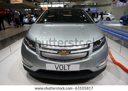 PARIS - OCTOBER 14: Chevrolet Volt front view at the Paris Motor Show 2010 at Porte de Versailles, on October 14, 2010 in Paris, France