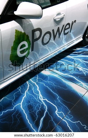 PARIS - OCTOBER 14: Closeup of the Saab 9-3 ePower automobile - the first electric vehicle from Saab at the Paris Motor Show 2010 at Porte de Versailles, on October 14, 2010 in Paris, France