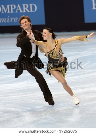 PARIS - OCTOBER 16: Ekaterina RUBLEVA and Ivan SHEFER of Russia perform compulsory dance at Eric Bompard Trophy October at Palais-Omnisports de Bercy October 16, 2009 in Paris, France.