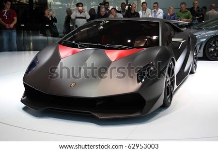 PARIS - OCTOBER 11: Lamborghini Sesto Elemento Concept at the Paris Motor Show 2010 at Porte de Versailles, on October 11, 2010 in Paris, France - stock photo