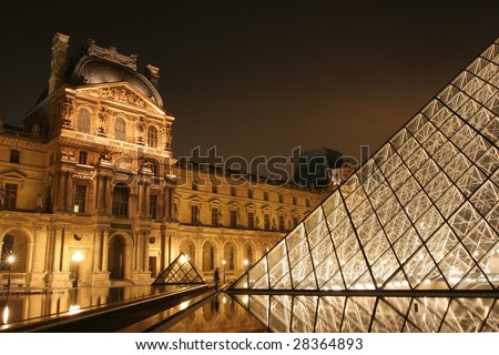PARIS - OCTOBER 14: Museum du Louvre and the Pyramid night view October 14, 2006 in Paris France