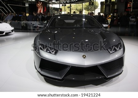 PARIS - OCTOBER 13 : People look at the Lamborghini Estoque at the 2008 Paris Motor Show October 13, 2008 in Paris. The show attracts more of one million people every 2 years