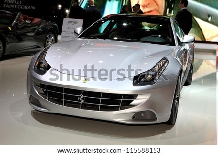PARIS - OCTOBER 14: The Ferrari FF displayed at the 2012 Paris Motor Show on October 14, 2012 in Paris