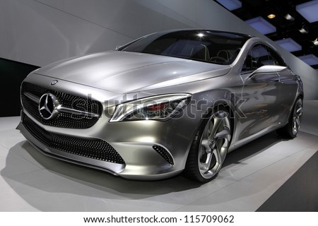 PARIS OCTOBER 14 The Mercedes Concept Style Coupe displayed at the 2012 Paris Motor Show on October 14 2012 in Paris