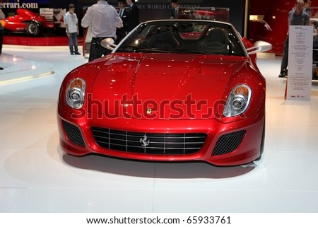 PARIS - OCTOBER 12: The new Ferrari 599 displayed at the 2010 Paris Motor Show on October 12, 2010 in Paris