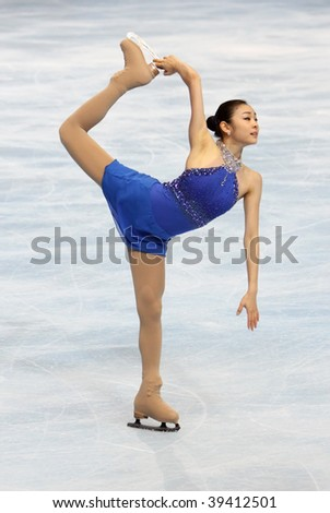 PARIS - OCTOBER 17: Yu-Na KIM of Korea performs at ladies free skating event of the ISU Grand Prix Eric Bompard Trophy October 17, 2009 at Palais-Omnisports de Bercy, Paris, France.