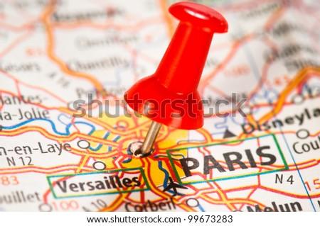 Paris on a map - stock photo