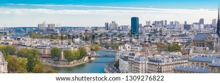 Paris, panorama of the ile de la Cite and ile Saint-Louis, on the river Seine, with the Saint-louis bridge, skyline