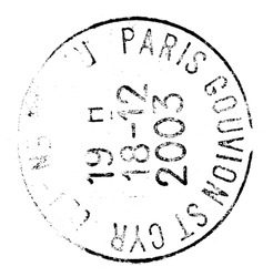 paris postage stamp isolated on white