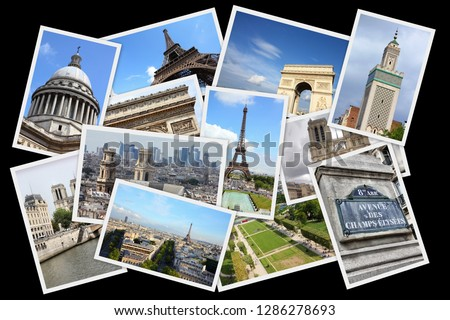 Paris postcards collage - France capital city landmark postcard collection. #1286278693