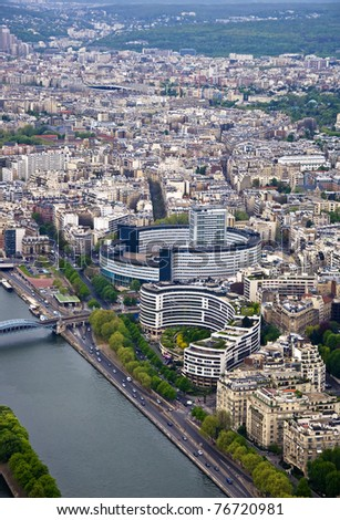 Paris. River Seine with the height. Urban scene.