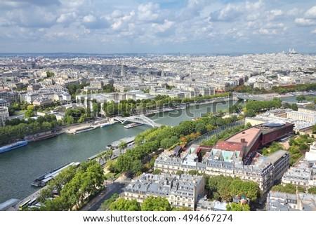 paris seine river cityscape....
