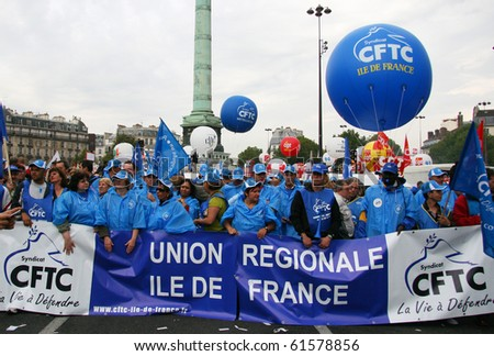 PARIS - SEPTEMBER 23: French Trade Union CFTC activists demonstrate during nationwide strike against raise of the retirement age from 60 to 62  on September 23, 2010 in Paris, France