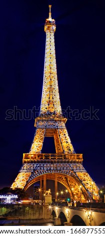 PARIS SEPTEMBER 18 Light Performance Show on September 18 2013 in Paris The Eiffel Tower stands 324 metres 1 063 ft tall Monument was built in 1889 night view of the Siene River