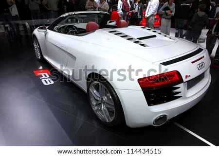 PARIS - SEPTEMBER 30: The new Audi R8 V8 displayed at the 2012 Paris Motor Show on September 30, 2012 in Paris