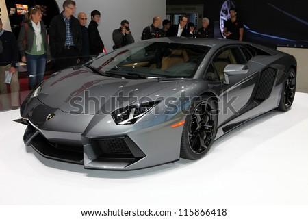 PARIS - SEPTEMBER 30: The new Lamborghini Aventador displayed at the 2012 Paris Motor Show on September 30, 2012 in Paris