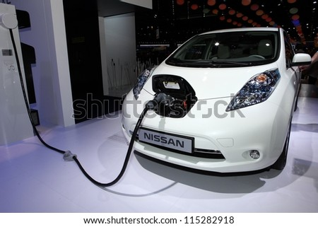 PARIS SEPTEMBER 30 The new Nissan Leaf displayed at the 2012 Paris Motor Show on September 30 2012 in Paris