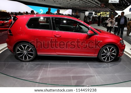 PARIS - SEPTEMBER 30: The new Volkswagen Golf GTI displayed at the 2012 Paris Motor Show on September 30, 2012 in Paris