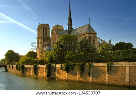 Paris, Siene river and cathedrsl Notre-Dame. - stock photo