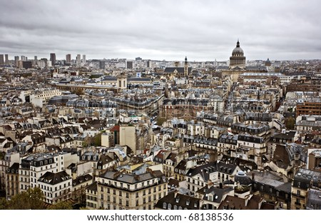 Paris skyline in a cloudy autumn day