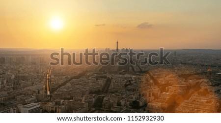 Paris Skyline sunset panorama #1152932930